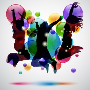 dancing over a colorful graphic
