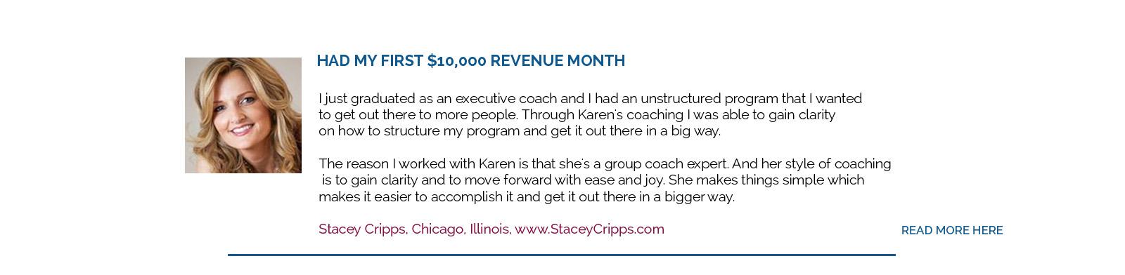 Stacey Cripps testimonial for Karen Cappello MCC
